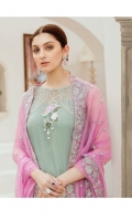 Embroidered chiffon for front: 1 yard  Embroidered chiffon for back: 1 yard  Embroidered organza border for front & trousers: 2 yards  Embroidered organza border for front & back: 2 yards  Plain chiffon for sleeves: 0.75 yard  Embroidered organza border for front & sleeves: 2 yards  Embroidered chiffon for dupatta: 2.75 yards  Raw silk for trousers: 2.50 yards