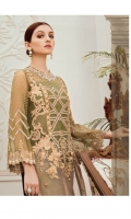 Embroidered chiffon with stone embellishment for front: 1 yard  Organza with pearls embellishment for front: 1 yard  Embroidered organza border for front: 1 yard  Embroidered chiffon for back: 1 yard  Embroidered organza border for back: 1 yard  Embroidered chiffon for sleeves: 0.75 yard  Embroidered net for dupatta: 2.75 yards  Raw silk for trousers: 2.50 yards  Embroidered organza border for trousers: 2.50 yards