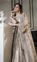 Net Embroidered Front Panel 1.25 yards  Net Embroidered Back Panel 1.25 yards  Net Embroidered Sleeves 1.5 yards  Embroidered Net lehnga  Underslip 2.5 yards  Pure net Embroidered Dupatta 2.5 yards