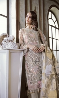 Net Embroidered Front Panel 1.25 yards  Net Embroidered Back Panel 1.25 yards  Net Embroidered Sleeves 1.5 yards  Embroidered Silk Trouser 2.5 yards  Underslip 2.5 yards  Pure Organza Embroidered Dupatta 2.5 yards  Trouser Patches Included
