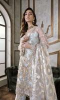 Net Embroidered Front Panel 1.25 yards  Net Embroidered Back Panel 1.25 yards  Net Embroidered Sleeves 1.5 yards  Pure Indian Silk Trouser 2.5 yards  Underslip 2.5 yards  Pure Organza Embroidered Dupatta 2.5 yards  Trouser Patches Included