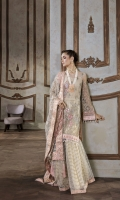 Net Embroidered Front Panel 1.25 yards  Net Embroidered Back Panel 1.25 yards  Net Embroidered Sleeves 1.5 yards  Embroidered Silk Trouser 2.5 yards  Underslip 2.5 yards  Pure Organza Embroidred Dupatta 2.5 yards