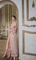 Net Embroidered Front Panel 1.25 yards  Net Embroidered Back Panel 1.25 yards  Net Embroidered Sleeves 1.5 yards  Embroidered Silk Trouser 2.5 yards  Underslip 2.5 yards  Pure Net embroidred Dupatta 2.5 yards