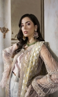 Net Embroidered Front Panel 1.25 yards  Net Embroidered Back Panel 1.25 yards  Net Embroidered Sleeves 1.5 yards  Embroidered Silk Trouser 2.5 yards  Underslip 2.5 yards  Pure Net Printed Dupatta 2.5 yards