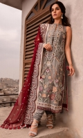EMBROIDERED CHIFFON FRONT EMBROIDERED CHIFFON BACK EMBROIDERED ORGANZA FRONT AND BACK HEM (BORDER) EMBROIDERED CHIFFON SLEEVES EMBROIDRED ORGANZA SLEEVES PATCH RAW SILK PANTS EMBROIDERED CHIFFON DUPATTA