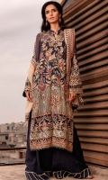 EMBROIDERED CHIFFON FRONT WITH SEQUINS EMBROIDERED CHIFFON BACK WITH SEQUINS EMBROIDERED ORGANZA FRONT AND BACK HEM (BORDER) EMBROIDERED CHIFFON SLEEVES EMBROIDERED ORGANZA SLEEVES PATCH RAW SILK PANTS METALLIC TULLE (ZARRI NET) DUPATTA EMBROIDERED ORGANZA DUPATTA PATCH WITH SEQUINS
