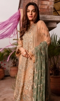 EMBROIDERED CHIFFON FRONT EMBROIDERED CHIFFON BACK EMBROIDERED ORGANZA FRONT AND BACK HEM (BORDER) EMBROIDERED CHIFFON SLEEVES EMBROIDERED ORGANZA SLEEVES PATCH RAW SILK TROUSER EMBROIDERED ORGANZA PANTS PATCH EMBROIDERED CHIFFON DUPATTA WITH SEQIUNS
