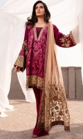 EMBROIDERED CHIFFON FRONT WITH SEQUINS EMBROIDERED CHIFFON BACK WITH SEQUINS EMBROIDERED SILK FRONT AND BACK HEM (BORDER) EMBROIDERED CHIFFON SLEEVES EMBROIDERED SILK SLEEVE PATCHES WITH SEQUINS RAW SILK PANTS EMBROIDERED TULLE (NET) DUPATTA EMBROIDERED SILK DUPATTA PATCH WITH SEQUINS