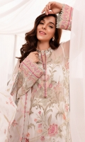 EMBROIDERED CHIFFON FRONT EMBROIDERED CHIFFON BACK EMBROIDERED ORGANZA FRONT AND BACK HEM (BORDER) EMBROIDERED ORGANZA NECKLINE FINISHING EMBROIDERED CHIFFON SLEEVES EMBROIDERED ORGANZA SLEEVES PATCH RAW SILK PANTS EMBROIDERED CHIFFON DUPATTA