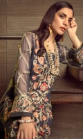 Embroidered Chiffon Centre Panel Embroidered Chiffon Side Panels Plain Chiffon Back Embroidered Raw Silk Front and Back Hem (Border) (Blue) Embroidered Raw Silk Front and Back Hem (Border) (Red) Embroidered Chiffon Sleeves Embroidered Raw Silk Sleeve Patch Raw Silk Pants Embroidered Chiffon Dupatta