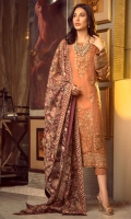 Embroidered Chiffon Centre Panel Embroidered Chiffon Side Panels Plain Chiffon Back Embroidered Raw Silk Front and Back Hem (Border) Embroidered Chiffon Sleeves Embroidered Organza Sleeve Patch Raw Silk Pants Embroidered Net Dupatta