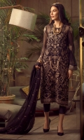 Embroidered Chiffon Front Embroidered Chiffon Back Embroidered Organza Front and Back Hem (Border) Embroidered Chiffon Sleeves Embroidered Organza Sleeve Patch Raw Silk Pants Embroidered Chiffon Dupatta