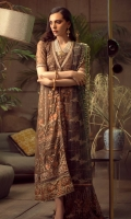 Embroidered Chiffon Front Embroidered Chiffon Back Embroidered Raw Silk Front and Back Hem (Border) Embroidered Organza Neckline Finishing Embroidered Chiffon Sleeves Embroidered Organza Sleeve Patch Raw Silk Pants Embroidered Net Dupatta Embroidered Net Dupatta Pallu Patch