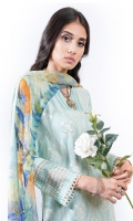 EMBROIDERED LAWN FRONT (1.25m) EMBROIDERED LAWN BACK (1.25m) EMBROIDERED ORGANZA FRONT BORDER WITH BORING (0.85m) EMBROIDERED ORGANZA NECKLINE FINISHING (01 Piece) EMBROIDERED LAWN SLEEVES (0.60m) EMBROIDERED ORGANZA SLEEVES PATCH WITH BORING (0.85m) COTTON PANTS (2.5m) DIGITAL PRINT CHIFFON DUPATTA (2.5m)