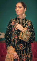 Embroidered Velvet Front Embroidered Velvet Back Embroidered Raw Silk Front and Back Hem (Border) Embroidered Velvet Sleeves Embroidered Raw Silk Sleeve Patch Silk Brocade (Jamawaar Pants) Embroidered Chiffon Dupatta with Sequins