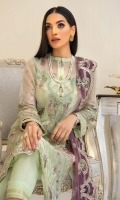 Embroidered Organza Front Plain Organza Back Embroidered Organza Front and Back Hem (Border) Embroidered Organza Sleeves Embroidered Organza Sleeve Patch Grip Lining Raw Silk Pants Embroidered Net Dupatta