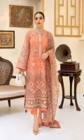 Embroidered Organza Front Embroidered Organza Neckline Finishing Embroidered Organza Back Embroidered Organza Front and Back Hem (Border) Embroidered Organza Sleeves Embroidered Organza Sleeve Patch Grip Lining Raw Silk Pants Embroidered Net Dupatta