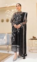 Embroidered Net Front with Sequins Embroidered Net Back with Sequins Embroidered Organza Front and Back Hem (Border) Embroidered Net Sleeves Embroidered Organza Sleeve Patch Grip Lining Raw Silk Pants Embroidered Net Dupatta with Sequins