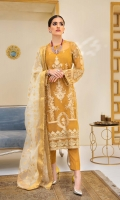 Embroidered Organza Front with Sequins Embroidered Organza Back with Sequins Embroidered Organza Front and Back Hem (Border) with Sequins Embroidered Organza Sleeves with Sequins Embroidered Organza Sleeve Patch with Sequins Grip Lining Raw Silk Pants Organza Jacquard Dupatta