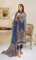 Embroidered Organza Front Plain Organza Back Embroidered Organza Front and Back Hem (Border) Embroidered Organza Sleeves Embroidered Organza Sleeve Patch Grip Lining Raw Silk Pants Embroidered Net Dupatta Embroidered Organza Pallu Patch