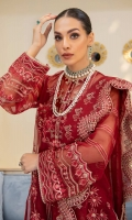 Embroidered Organza Front Embroidered Organza Back Embroidered Organza Front and Back Hem (Border) Embroidered Organza Sleeves Embroidered Organza Sleeve Patch Grip Lining Raw Silk Pants Embroidered Organza Dupatta