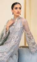 Embroidered Net Front Embroidered Organza Neckline Finishing Embroidered Net Back Embroidered Organza Front and Back Hem (Border) Embroidered Net Sleeves Embroidered Organza Sleeve Patch Grip Lining Raw Silk Pants Embroidered Net Dupatta
