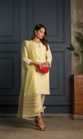 A lemon-yellow cotton straight kurta, matching your pride and grace. A dreamy lace work on the hemline and sleeves, and anchor thread work plaiting in the front. This straight trouser completes the fairytale look with the addition of laced border and a bow to tie. A dyed organza dupatta with awe-inspiring silver and gold zari lines.