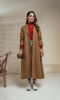 Long cotton coat with Asymmetric double lapel collar, folded raglan sleeves with shoulder loops and button. A symmetric diagonal velt pockets on sides. Box pleated with intricate anchor detailing on the back. Delicate finishing of checkered  fabric under sleeves, pockets and coat front.