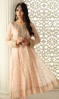 Pale blush chiffon embroidered long peshwas with hand worked neckline and embroidered borders. It is paired with chiffon dupatta with sequins and pearl spray and pants with heavy borders.