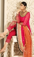 Fuchsia rose chiffon pishwas with beautiful details on neckline and borders. Make it a little more formal with heavy hand worked pants. Paired with orange ochre kamdani dupatta.