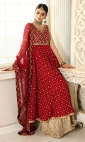 Salsa red pishwas with heavy bodice and spray, make it look formal with gold heavy worked sharara or keep it simple with plain pants. Paired with dupatta with sequins and gota spray. Perfect for people who want to keep the bridals light.