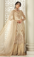Pearl white long shirt with heavily embellished front, back and sleeves. Pair it up with an off white handworked sharara for your nikah function or make it simple with a plain pants and additional chiffon heavy worked dupatta.