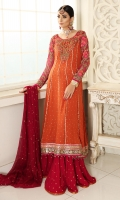 Flamingo chiffon anarkali with heavily resham and dapka work on front, back and sleeves. Pair it up with chiffon gharara or keep it simple with plain pants. It is paired with chiffon pink dupatta with sequins spray. Perfect for mehndi!