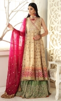 Golden angarkha with heavy embroidered borders and gota work , pair it up with heavy worked sharara or keep it simple with pants. Paired with magenta coloured dupatta with gota and sequin details.