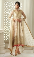 A Dew white net peshwas with gota worked bodice. It is paired with jamawar pants and kamdani dupatta.