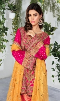 Fully embellished pink raw silk shirt beautifully paired with jamawar worked shalwar and yellow dupatta. *Shirt Length: 30.5