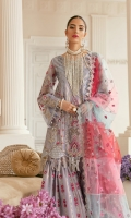 """Net embroidered hand-embellished Front 1 yard Net embroidered Back 1 yard Net embroidered hand-embellished Sleeve 26"""" Net embroidered Dupatta 3 yards ( 1 yard each Colour ) Organza Embroided one side Dupatta border 2.5 yards Organza Embroided dupatta border 5 yards Net embroidered Gharara 100"""" Organza embroidered gharara border 100"""" Plain Shimmer 5 yards"""