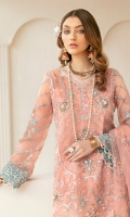"""Net embroidered hand-embellished Front 1 yard Net embroidered back 1 yard Tissue embroidered hand-embellished front 1 yard Tissue embroidered back border 1 yard Tissue embroidered back motif 1 pcs Organza embroidered sleeves 26"""" Tissue embroidered hand-embellished sleeves border 1 yard\ Organza embroidered dupatta 2.5 yard Embroidered dupatta border 8 yard Organza embroidered dupatta center pcs 60"""" Tissue embroidered center border 5 yard Tissue embroidered trouser border 50"""" Russian grip trouser 2.5 yard"""