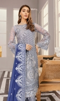 """Net embroidered hand embellished front 1 yard Net embroidered back 1 yard Tissue embroidered hand embellished front border 1 yard Tissue embroidered back 1 yard  Net embroidered hand embellished sleeves 26"""" Chiffon embroidered dupatta 2.5 yard Russian grip trouser 2.5 yard"""