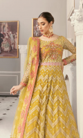 """Net embroidered hand embellished front 6 panels Net embroidered back 6 panels Net embroidered hand embellished front chest 26"""" Net embroidered back body 26"""" Net embroidered hand embellished sleeves 26"""" Embroidered belt 1 yard Embroidered front border 2 yard Embroidered back border 2 yard Net embroideredd dupatta 2.5 yards Russian grip inner 4 yard"""