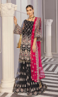 """Net embroidered hand embellished front 1 yard Net embroidered back 1 yard Net embroidered hand embellished sleeves 26"""" Net embroidered lenhga 104"""" Net embroidered dupatta 2.5 yard Russian grip trouser 2.5 yard"""