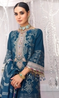 Jacquard Dupatta Jacquard Shirt 3.12 Meters Neckline Embroidered On Organza 2Meter Embroidered Border On Organza Dyed Cambric Trouser
