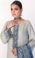 Shirt: Printed Doriya Shirt 3.12 Meters Neckline On Organza Embroidery On Daaman Embroidered Lace For Sleeves Fabric: Doriya  Dupatta: Medium Silk Printed Dupatta Fabric: Silk  Trousers: Dyed Cambric Trousers Fabric: Cambric