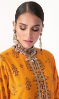 Shirt: Jacquard Shirt 3.12 Meters Lace For Sleeves - 1 Meter Lace For Daaman - 1 Meter Neckline On Organza Fabric: Jacquard  Dupatta: Printed Cotton Silk Dupatta Fabric: Cotton Silk  Trousers: Dyed Cambric Trousers Fabric: Cambric