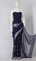 Embroidered Banarsi Chiffon Saree  Saree Creep Chiffon Silver Zari Boti