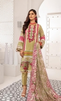 Shirt: Digital Printed Lawn (3 meters) Dupatta: Digital Printed Lawn (2.5 meters) Trouser: Dyed Cotton (2.5 meters)  Embroidery Details: Full Front Embroidered Shirt