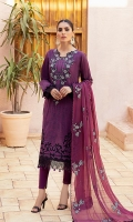 Shirt: Digital Printed Lawn Dupatta: Digital Printed Silk Trouser: Dyed Cambric  Embroidery Details: Thread and Tilla Embroidered Gala on Shirt Thread and Tilla Embroidered Daman on Shirt Thread and Tilla Embroidered Dupatta Thread Embroidered Border of Dupatta