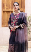 Shirt: Digital Printed Lawn Dupatta: Tie & Die Organza Trouser: Dyed Cambric  Embroidery Details: Thread Embroidered Shirt Tilla and Sequins Embroidered Border For Front