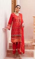 Shirt: Digital Printed Lawn Dupatta: Zari Jacquard Trouser: Dyed Cambric Shirt: Banarsi Jacquard Daman  Embroidery Details: Thread and Tilla Embroidered Shirt