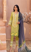 Shirt: Digital Printed Lawn Dupatta: Digital Printed Chiffon Trouser: Dyed Cambric  Embroidery Details: Thread Embroidered Gala on Shirt's front Thread and Tilla Embroidered Shirt's front Thread and Sequins Border for sleeves
